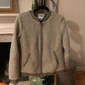 Gray shearling bomber jacket